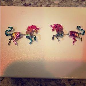 Claire's Rainbow Unicorn Earrings